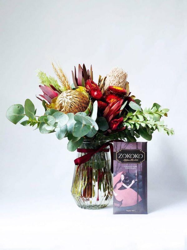 A Little Treat Gift Pack with Small Natives Posy in Vase and Chocolate