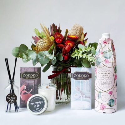 Sweet Thing Gift Pack - Includes Posy, 2 Zokoko Chocolate Bars, Crafters Union Rosé, Mrs Nargar & Co Candle and Diffuser