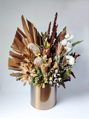 Large Dried Flower Bouquet in Gold Vase