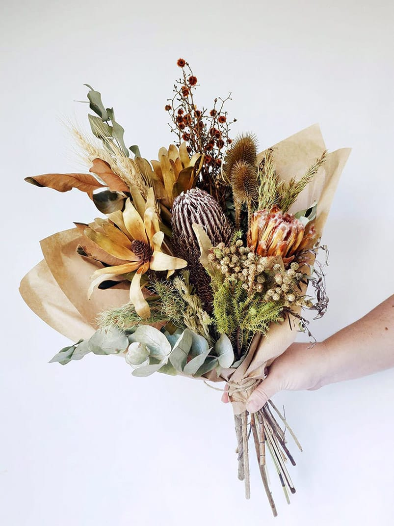 Dried Flower Posy Pot And Posy
