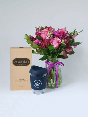 Hot Chocolate Gift Pack by Pot and Posy includes Zokoko Hot Chocolate, C2R Glass Cup and your chosen flower Posy