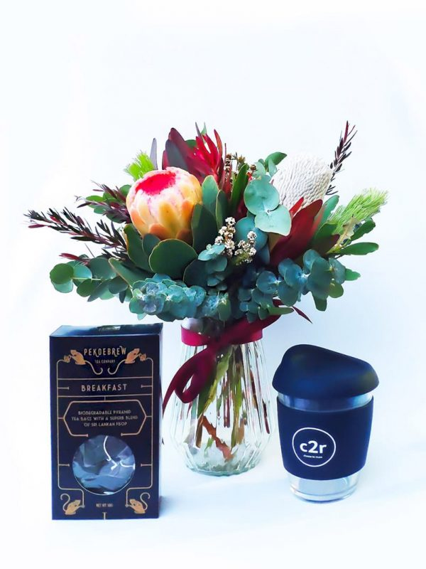 Tea Time Gift Pack with Small Brights Posy in Vase, Navy Blue Glass Cup & PekoeBrew Breakfast