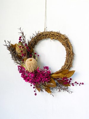 Dried Wreath - Magenta