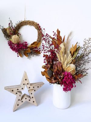 Magenta Dried Bouquet and Dried Christmas Wreath