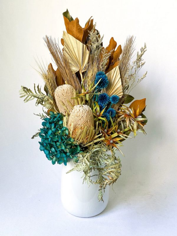 Teal Large Dried Flower Bouquet