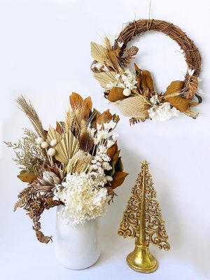 White Dried Bouquet and Dried Christmas Wreath