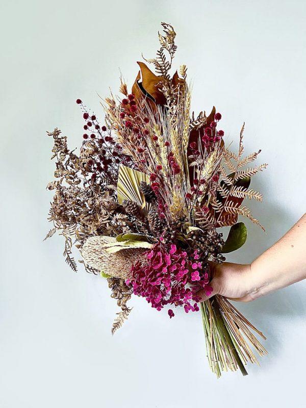Dried Flower Posy • Magenta